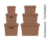 wicker storage box. vector... | Shutterstock .eps vector #723466861