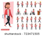 set of men character vector... | Shutterstock .eps vector #723471505