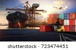 logistics and transportation of ... | Shutterstock . vector #723474451
