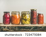 autumn seasonal pickled or... | Shutterstock . vector #723475084