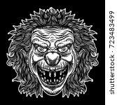 Devil Clown Head Illustration....
