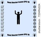 hands up icon  surrendering... | Shutterstock .eps vector #723496324