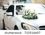Stock photo wedding white car 723516607