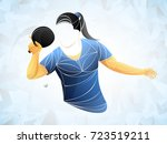 table tennis girl vector. young ... | Shutterstock .eps vector #723519211