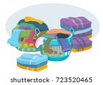 basket with linens vector ... | Shutterstock .eps vector #723520465