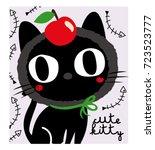 stock vector cute black cat | Shutterstock .eps vector #723523777