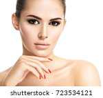 portrait of young woman with... | Shutterstock . vector #723534121