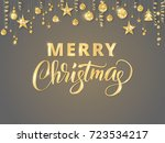 merry christmas card with hand... | Shutterstock .eps vector #723534217
