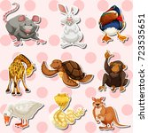 Sticker set with different kinds of animals illustration