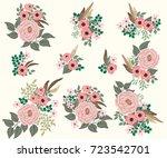 floral arrangements in ... | Shutterstock .eps vector #723542701
