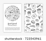 card templates with doodle... | Shutterstock .eps vector #723543961