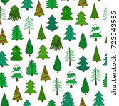 seamless pattern with doodle... | Shutterstock .eps vector #723543985