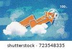 paper art of business growth...   Shutterstock . vector #723548335