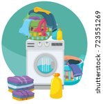 washing machine  towels  linen  ... | Shutterstock .eps vector #723551269
