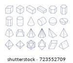 3d geometric shapes. outline... | Shutterstock .eps vector #723552709