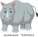cute rhino cartoon standing... | Shutterstock .eps vector #723554221