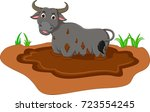 funny buffalo cartoon on mud... | Shutterstock .eps vector #723554245
