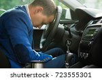 the driver fell asleep at the... | Shutterstock . vector #723555301