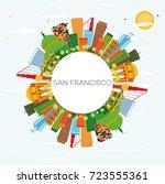san francisco skyline with... | Shutterstock . vector #723555361