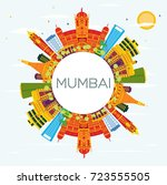 mumbai india skyline with color ... | Shutterstock . vector #723555505