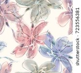 floral background. watercolor... | Shutterstock . vector #723556381