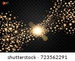 cosmic glittering wave. gold... | Shutterstock .eps vector #723562291