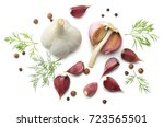 garlic and spices isolated on... | Shutterstock . vector #723565501