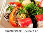 Sushi on plate - stock photo