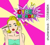 woman with cyber monday on the... | Shutterstock . vector #723580804