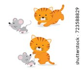 Stock vector cute little kitten catching a mouse 723588829