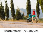running mother with child in... | Shutterstock . vector #723589921