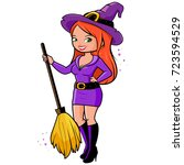 woman in halloween witch... | Shutterstock .eps vector #723594529
