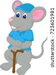 cute mouse cartoon bring stick... | Shutterstock .eps vector #723601981