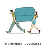 young couple carrying sofa... | Shutterstock .eps vector #723602665