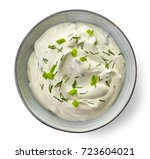 bowl of sour cream dip sauce... | Shutterstock . vector #723604021