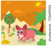 pink puppy in sandy ground in... | Shutterstock .eps vector #723609331