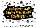 happy halloween party gold... | Shutterstock .eps vector #723610021