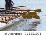 rowing boat at pier | Shutterstock . vector #723611071