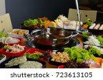 asian hot pot   | Shutterstock . vector #723613105