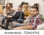 portrait of handsome guy... | Shutterstock . vector #723614761