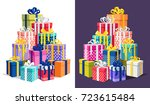 gift boxes with ribbon  bow set ... | Shutterstock .eps vector #723615484
