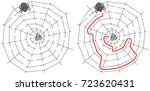 easy spider maze for younger... | Shutterstock .eps vector #723620431