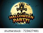 halloween vector lettering... | Shutterstock .eps vector #723627481