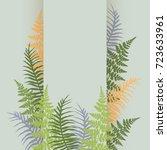 fern frond frame vector... | Shutterstock .eps vector #723633961