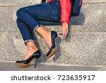 broken stiletto heel on the...   Shutterstock . vector #723635917
