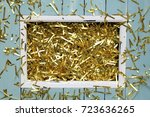 golden confetti or decoration ... | Shutterstock . vector #723636265