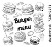 hand drawn burgers. fast food... | Shutterstock .eps vector #723641191