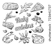 italian food hand drawn doodle. ... | Shutterstock .eps vector #723641737