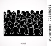 crowd of anonymous people ... | Shutterstock .eps vector #723658051