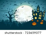 halloween scary cemetery...   Shutterstock .eps vector #723659377